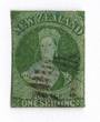 NEW ZEALAND 1855 Full Face Queen 1/- Green. Watermark Large Star.Blued Paper. Superb numeral cancel off face. Very presentable c