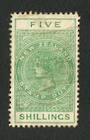 NEW ZEALAND 1895 Postal Fiscal 5/- Green in mint condition with some original gum. Perf 11. - 71607 - Mint