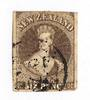NEW ZEALAND 1862 Full Face Queen 6d Black-Brown Imperf.Watermark Large Star. Four margins. Stated to be early use of L3 cancel (