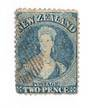 NEW ZEALAND 1862 Full Face Queen 2d Dull Deep Blue. Perf 13. No Watermark. Richardson print. Tiny thin barely noticeable. In oth