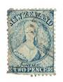 NEW ZEALAND 1862 Full Face Queen 2d Blue. Perf 12½. Watermark Large Star. Extensive plate wear (plate1). The wear is nicely visi