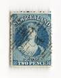 NEW ZEALAND 1862 Full Face Queen 2d Blue. Perforated. Light cancel that partly obscures the face. An excellent copy. - 74010 - F