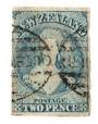 NEW ZEALAND 1862 Full Face Queen 2d Blue. Worn plate. Imperf. White paper. Watermark Large Star. Four margins. Good used but min