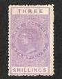 NEW ZEALAND 1882 Victoria 1st Long Type Fiscal 3/- Purple with flaw above eye. - 74024 - MNG