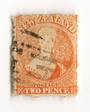 NEW ZEALAND 1862 Full Face Queen 2d Orange. Perf 12½. Row 19/4 variety. - 74036 - Used