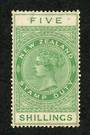 NEW ZEALAND 1882 Victoria 1st Long Type Fiscal Official 5/- Green. Perf 14½x14. - 74042 - Used