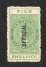 NEW ZEALAND 1882 Victoria 1st Long Type Postal Fiscal Official 5/- Green. - 74065 - UHM