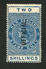 NEW ZEALAND 1882 Long Type Postal Fiscal Official 2/- Blue. Has toning so sold as no gum. - 74066 - MNG