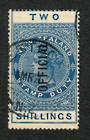 NEW ZEALAND 1882 Victoria 1st Long Type Postal Fiscal Official 2/- Blue. Postally used. - 74068 - VFU
