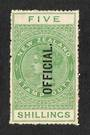 NEW ZEALAND 1882 Long Type Postal Fiscal 5/- Green. Very nice copy. - 74070 - LHM