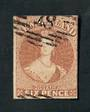 NEW ZEALAND 1855 Full Face Queen 6d Bistre-Brown. No Watermark. Imperf. Four margins. Good used. CP A5a(8). - 74096 - Used