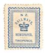 NEW ZEALAND 1890 Railways Newspapers 2d Blue. Perfect from the front. Has adhesion on the rear but still a good portion of the o