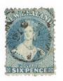 NEW ZEALAND 1862 Full Face Queen 6d Blue. Perf 12½. Watermark Large Star. Light postmark off face. - 74650 - Used