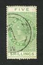 NEW ZEALAND 1882 Victoria 1st Long Type Postal Fiscal 5/- Green. Postally used. - 74679 - FU