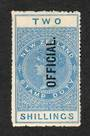 NEW ZEALAND 1882 Long Type Postal Fiscal Official 2/- Blue. - 74683 - Mint