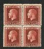 NEW ZEALAND 1915 Geo 5th Definitive 7½d Deep Red-Brown. Two perf Block of 4. - 74831 - UHM