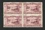 NEW ZEALAND 1898 Pictorial 9d Reddish Purple. Third Local Issue on Cowan Watermarked Paper. Perf 14. Block of 4. Light hinge rem