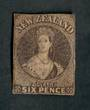 NEW ZEALAND 1855 Full Face Queen 6d Black-Brown. Davies Print (SG 41). Only the second unused example I have seen. Much original