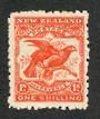 NEW ZEALAND 1898 Pictorial 1/- Bright Red. Second Local Issue on Cowan Watermarked Paper. Perf 11. Watermark Sideways Inverted.