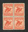 NEW ZEALAND 1898 Pictorial 1/- Dull Red. First Local Issue on Unwatermarked Paper. Perf 11. Block of 4. Two never hinged. CP E18