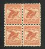 NEW ZEALAND 1898 Pictorial 1/- Dull Brown-Red. First Local Issue on Unwatermarked Paper. Perf 11. Block of 4. One never hinged.