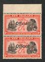 NEW ZEALAND 1940 Centennial Official 1d Captain James Cook. Joined FF in pair with normal. Post Office fresh and clean. - 75034