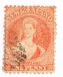 NEW ZEALAND 1862 Full Face Queen 1d Orange. Light cancel off face. Excellent copy.