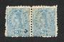 NEW ZEALAND 1882 Victoria 1st Second Sideface 2½d Blue. Pair with adverts in purple-red. - 75066 - VFU