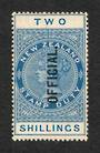 NEW ZEALAND 1882 Long Type Postal Fiscal Official 2/- Blue. - 75131 - Mint
