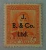 NEW ZEALAND 1938 Geo 6th Definitive 2d Orange with overprint J B & Co Ltd. Letter available as to its rarity. - 75190 - Perfin