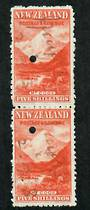NEW ZEALAND 1898 Pictorial 5/- Red on Cowan paper. Watermark Sideways Inverted. Fiscally used pair. - 75248 - Fiscal