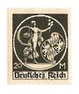 GERMANY 1920 Definitive Overprint on Bavaria 20m Black with the variety ' straight top to the