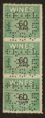 USA 1941 Internal Revenue Wines 60c Green and Black. Perfin. Strip of 3. - 76117 - Fiscal