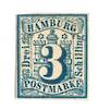 HAMBURG 1859 Definitive 3s Prussian Blue. No gum. Three good margins and most of the fourth. From the collection of H Pies-Lintz