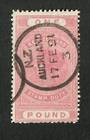 NEW ZEALAND 1882 Victoria 1st Long Type Fiscal £1 Rose-Pink . Postally used. Nice Auckland cds. - 79084 - FU