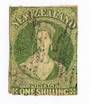 NEW ZEALAND 1855 Full Face Queen 1/- Yellow-Green. Roulette 7 at Auckland. Roulettes visible top and bottom only. One rounded co