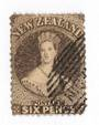 NEW ZEALAND 1862 Full Face Queen 6d Black-Brown. Perf 13 at Dunedin . Part Dunedin and bars cancel off face. - 79101 - FU