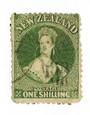 NEW ZEALAND 1862 Full Face Queen 1/- Deep Green. Perf 13 at Dunedin . Light cancel off face, but dull corners detract. - 79150 -
