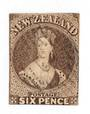 NEW ZEALAND 1862 Full Face Queen 6d Black-Brown. Pelure paper. Imperf. Nice copy cut square mostly touching. Very light cancel.
