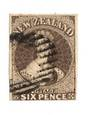 NEW ZEALAND 1862 Full Face Queen 6d Black-Brown Imperf.Watermark Large Star. Three margins. Bars cancel. - 79222 - Used