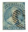 NEW ZEALAND 1864 Full Face Queen 2d Pale Blue. Plate 1 worn. Watermark NZ. Imperf. Four excellent margins. Bars cancel over face