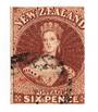 NEW ZEALAND 1864 Full Face Queen 6d Red-Brown.  Watermark NZ. Imperf. Cut square. Two margins. Cancel off face. - 79281 - FU