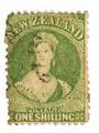 NEW ZEALAND 1862 Victoria 1st Full Face Queen 1/- Yellow-Green. Watermark Large Star. Perf 13. Fine cancel but one corner not ov