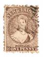 NEW ZEALAND 1862 Full Face Queen 1d Brown. Perf 12½.. Light cancel.
