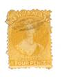 NEW ZEALAND 1862 Full Face Queen 4d Yellow. Perf 12½. Light cancel partly covers face. - 79748 - FU