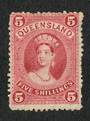QUEENSLAND 1862 Definitive 5/- Rose. Watermark 6. Perf 12. Thin paper. - 8607 - MNG